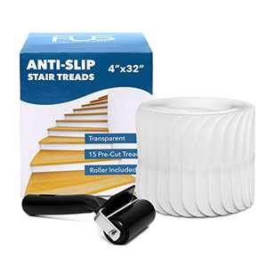 Stair Treads Non-Slip Strips for Indoors Clear Safety Anti Slip Stair Grips for Wood Floors to Prevent Slippery Surfaces 15 PEVA Non Skid Tape (4x32)