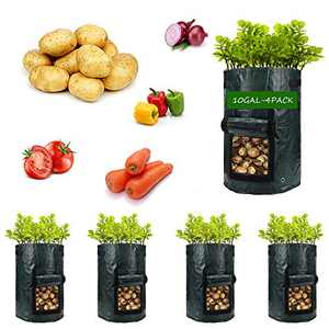 Potato-Grow-Bags,4 Pack 10 Gal Garden Vegetable Planter with Handles&Access Flap for Vegetables,Tomato,Carrot, Onion,Fruits,Potatoes-Growing-Containers,Ventilated Plants Planting Bag