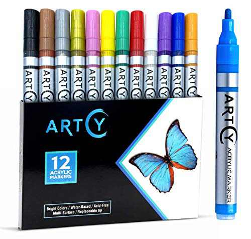 ARTCY Paint Pens Water-Based Acrylic Markers Set (Assorted 12-Colors) | For Rock Painting, Canvas, Glass, Porcelain, Fabric, Paper, Pottery and Plastic | Replaceable Medium tip | Modern Art Supplies