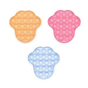 Push Bubble Fidget Sensory Toys Set,Autism Stress Reliever Special Needs Silicone Pop Squeeze Fidget Toys for Kids & Adult Home, School and Office(3Pack Bear Paw)