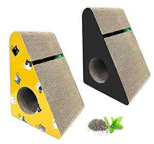 Scratch & Play 2 Pack Cardboard Cat Scratchers for Indoor Cats, Cat Scratching Post Cat's Tunnel Toy Plus Ball with Catnip