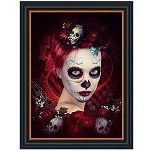 "SLCARRYWON 5D Diamond Painting Full Square Drill Skull Girl Stitch Mosaic Cross Rhinestone Clown Set for Wall Decoration(11.8""x15.7"")"