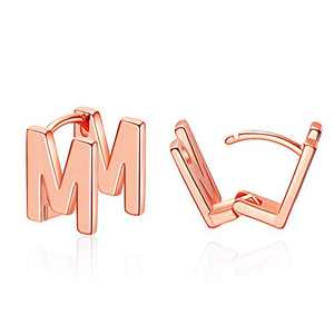 Initial Stud Earrings for Women Rose Gold Plated Letter M Earrings Jewelry Gifts for Her