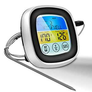 Digital Meat Thermometer,Instant Read Food Thermometer, Oven Safe Grill, Smoker, BBQ, Candy Thermometer with 40'' Probe Wire for Kitchen,Outdoor Cooking and Grill (Black)