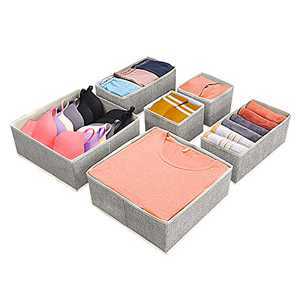 Hinotori Foldable Drawer Organizer Baskets 6 Pack – Storage Bin Drawer Dividers for Clothes,Underwear, Socks, Bras – Collapsible Fabric Bins Cube Containers for Closet, Shelves, Laundry Room