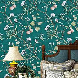 """Green Floral Peel and Stick Wallpaper Modern Wallpaper, 17.7"""" x 393.7"""" Peach Tree Removable Wallpaper Peel and Stick Flower Bird Waterproof Natural Self Adhesive Wall Paper Vinyl Film Wall Covering"""