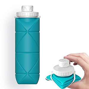 SPECIAL MADE Collapsible Water Bottle Leakproof Valve 600ML Reuseable BPA Free Silicone Foldable Water Bottle for Gym Camping HikingYoga Travel Sports Lightweight Durable 20oz (Blue)