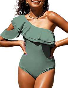 Hilor Women's One Piece Swimsuits One Shoulder Bathing Suits Asymmetric Ruffled Monokini Swimwear Army Green 16