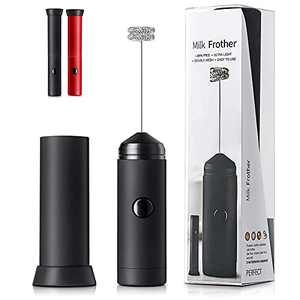 Handheld Milk Frother for Coffee, Carniway Electric Frother Wand Mixer for Cappuccino, Black Mini Foam Machine, Red Coffee Whisk Hand Drink Mixer with Cap, Portable Froth Maker Stirrers for Macchiato