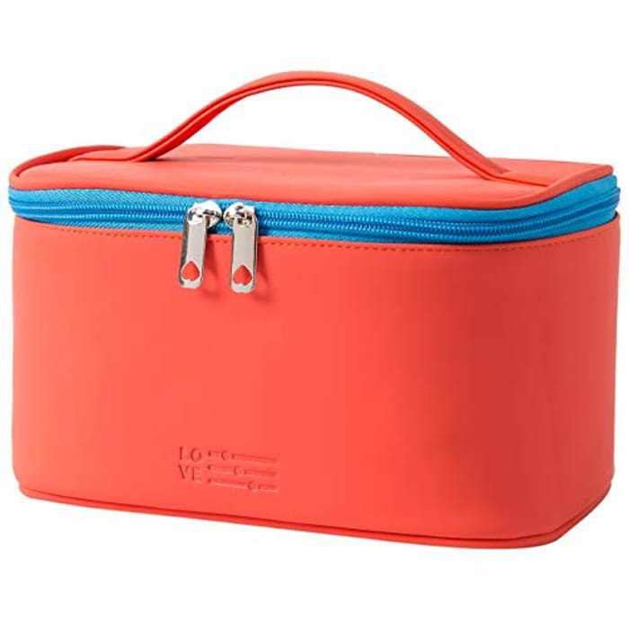 Makeup Bag Portable Travel Cosmetic Bag for Women, Beauty Zipper Makeup Organizer Bag with Inner Pouch PU Leather Washable Waterproof (Red)