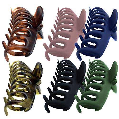 DONGMIN hair clips for women 6 pieces of matte frosted plastic claws, large clamping force Female claw clips and girl shaped segmented claw hair clips, strong support for thick hair.