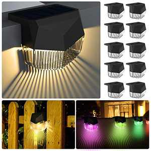 Lingkai Solar Deck Light for Steps 10 Pack Stair Solar Lights Outdoor Color Changing Solar Fence Lighting IP65 Waterproof for Patio, Yard, Garden Pathway