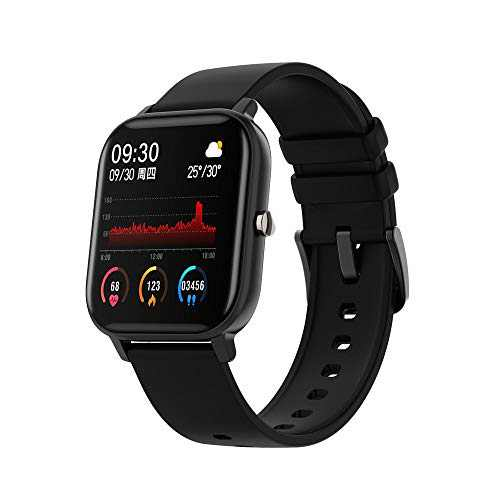 """Smart Watch, Fitness Tracker for Women, 1.4"""" TFT LCD Screen Smartwatch with Heart Rate and Sleep Monitor, IPX7 Waterproof Activity Tracker with Pedometer, Fitness Watch for Android and iOS (Black)"""