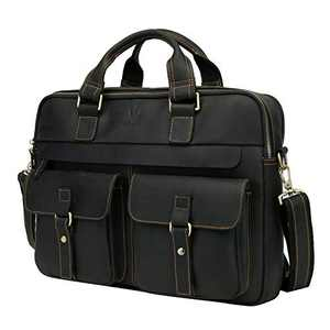 WILD WORLD Leather Briefcase Shoulder Bag for Men Business Laptop Bag Fit Up to 15.6 Inch Computer (Black)