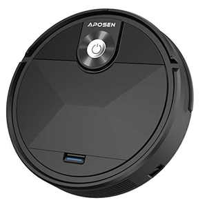 Robot Vacuum Cleaner, APOSEN Robotic Vacuum Tangle-Free Suction, Smart Automatic Self-Charging Vacuum Robot, Ultra Quiet and Silm, Ideal for Pet Hair, Hard Floors and Low-Pile Carpets