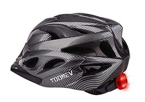 TOONEV Adult Bike Helmet with LED Light, Lightweight Integrally Sport Mountain Bicycle Helmets Adjustable Size 54 to 62 cm for Men Women Teenager Cycling Helmet (Black)