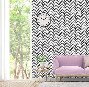 Geometric Wallpaper Black and White Peel and Stick Wallpaper 17.7'' x 197''Modern Stripe Self-Adhesive Vinyl Film for Wall Covering