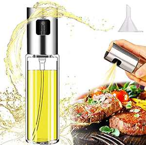 Cenekphy Olive Oil Sprayer for Cooking, Food-Grade Glass Oil Spray Mister Bottle, Olive Oil Graduated Dispenser with Stainless Steel Sprayer Head for Cooking Air Fryer, BBQ, Salad, Kitchen Baking
