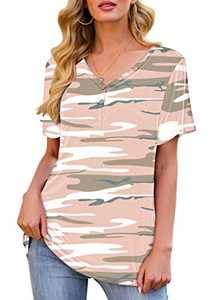 Eanklosco Women's Short Sleeve V-Neck Shirts Loose Casual Tee T-Shirt Camo Pink