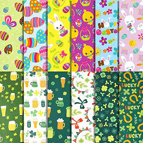 12 Pieces 19.6 x 19.6 Inch Easter Fabric Fat Squares St. Patrick's Day Fabric Shamrock Irish Fabric Holiday Theme Fabric for Easter Day DIY Crafts Home Decor (50 x 50 cm)