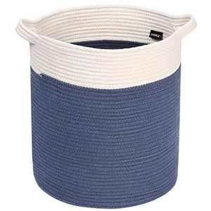 Syeeiex Large Decorative Blanket Basket 16'' x 14'' Blanket Basket Living Room Basket for Blankets for Yoga Mat,Blanket,Towel,Toy,Navy Bule & White