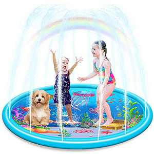 """Ucradle Splash Pad, Durable 68"""" LargeSprinkler Play Mat for Kids Children Boys Girls Summer Outdoor Water Toys, Vivid Underwater World Pattern InflatableSwimming Pool for Babies Toddlers"""