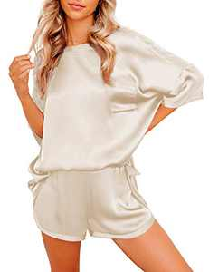 Saslax Womens Pajamas Set Loose 2 Pieces Loungewear Short Sleeves Satin Tops and Shorts Sleepwear Nightwear Pjs Sets Beige X-Large