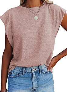 Asvivid Women's Crewneck T Shirt CasualLooseSolid Color Short Sleeve ShirtsTops Tees