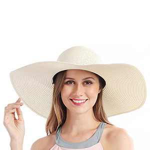 Sun Hat Straw Hats Women Summer Wide Brim Beach Hat Large Floppy Foldable Roll up for UV Protection UPF 50+