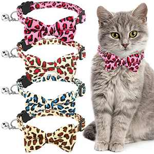 4 Pieces Breakaway Cat Collars Leopard Print Pet Collar with Removable Bell and Bowtie Adjustable Cute Safety Buckle Collars with Printed Patterns for Pet Kitten Cats Puppy