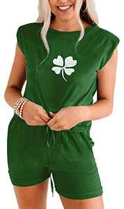 Women Cute Two Piece Summer Outfits St. Patrick's Day Loose Lounge Sets Tank Top Jumpsuits Rompers 4 Leaf Clover Green XL