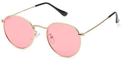 ZAMGIC Small Vintage Round Sunglasses Classic Retro Polarized Lens for Men Women Golden Frame Pink Lens