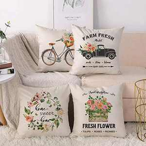 CARRIE HOME Farmhouse Flower Throw Pillow Covers 18x18 Set of 4 Decorative Spring Floral Pillow Cases for The Home and Living Room Decor