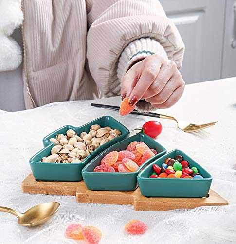 WEUNUM Christmas Serving Dishes Tree Shaped Platter,Appetizer Snack Plates,Holiday Dinnerware,3 pcs Removable Porcelain Plates with Bamboo Tray- Green