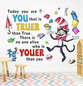 Supzone Dr Seuss Wall Stickers Cat in The Hat Wall Decal Quotes Saying Today You are You DIY Wall Art Sticker for Kids Nursery Room Classroom Reading Living Room Playroom Wall Decor