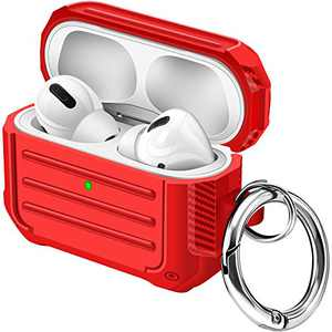 Maxjoy Airpods Pro Case Carbon Fiber TPU Protective Case Cover Texture Full Body Rugged Shockproof Dustproof Airpod Case with Carabiner for Apple Airpod Pro Charging Case (Red)