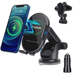 Flashda Wireless Car Charger, 15W Qi Fast Auto Clamping Car Charger Mount, Phone Car Holder Charger with Suction Cup, Air Vent Phone Mount for iPhone 12 Pro Max/12 Pro/12 Min, Samsung Galaxy S20, etc