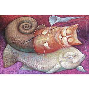 Jigsaw Puzzles 1000 Pieces for Adults-Sleeping Cat and Fish