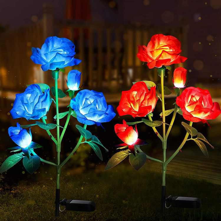 Tvird Solar Lights Outdoor Garden, Upgraded 2 Pack Solar Flower Lights, 7 Color Changing Solar Garden Lights with 10 Bigger Rose Flower Solar Garden Ornaments Outdoor (Blue&Red)
