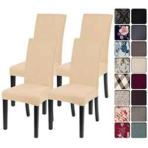 SearchI Chair Covers for Dining Room Set of 4, Stretch Jacquard Kitchen Parsons Chair Covers,Washable Spandex Dining Chair Slipcovers Seat Protector for Hotel,Banquet,Ceremony(Beige-Yellow)