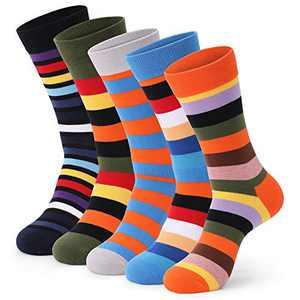 Mens Dress Socks 5 Pack Colorful Socks for Men Cotton Fashion Crew Socks (Striped Pattern -5, L)