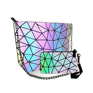 HotOne Messenger Bag for women Geometric Purse PU Leather Chain Crossbody Purse Tote Bag for women (Chain Bag 1 + Small Wallet)