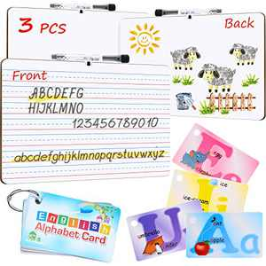 3 Pieces Dry Erase Lined Board Portable Learning Board 9 x 12 Inch Mini Lapboards Double Sided Ruled Board with Clear Pen Holder and 3 Pieces Black Markers and Alphabet Card for Kids