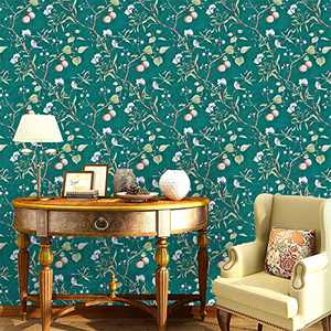 """Floral Peel and Stick Wallpaper,17.7""""x118.1"""" Vintage Green Flower and Birds Wallpaper Peel and Stick Floral Removable Decorative Wallpaper Natural Self Adhesive Wall Paper Vinyl Film Bedroom Cabinets"""