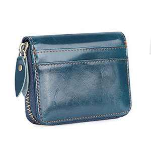 Etercycle Credit Card Wallet with Zipper, Small RFID Blocking Credit Card Holder Purse Travel Leather Card Case, Small Accordion Wallets for Women Men (Blue)