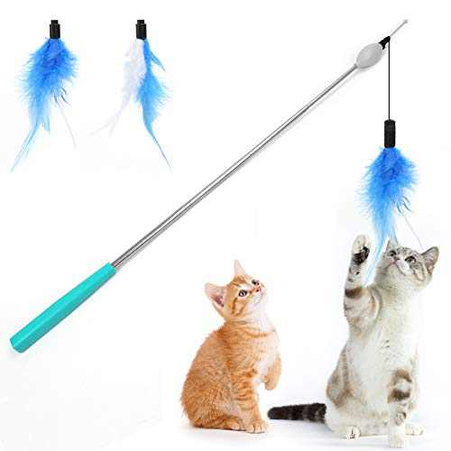Outamateur Electric Retractable Cat Teaser Retractable Cat Toys Wand Telescopic Interactive Cat Feather Toy for Cat Kitten Having Fun Playing Exerciser