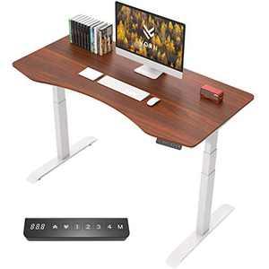 "VORII Electric Height Adjustable Standing Desk, 55""x28"" One-Piece Ergonomic Tabletop, Dual Motor Stand Up Desk Workstation, White Frame/Walnut Top"