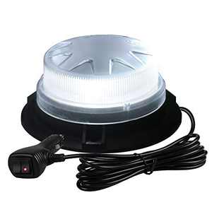 Primelux Automotive Emergency Strobe Lights for Vehicles - White Rooftop Strobe Beacon Lights for Trucks and Cars Strobe Mini Light Bar 24 High Intensity LEDs 8 Flash Modes Strong Magnetic Mount