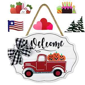 Delight Spirit Red Truck Welcome Sign for Front Door Home Decor Wall Hanging Rustic Home Decor Outdoor Decorations for Porch Seasonal Farmhouse Wooden Door Hello Sign for Holiday(White)