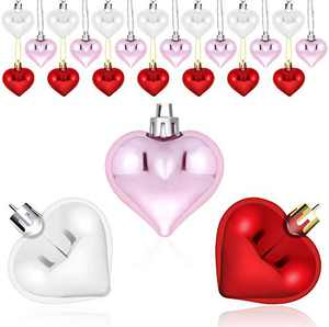 PQFNHN Happy Birthday Decorations, Heart Shaped Fathers Day Ornaments, 24 Pcs Red Pink Silver White Plastic Hanging Baubles Tree Ball Heart Glitter Decor for Home Party Gift